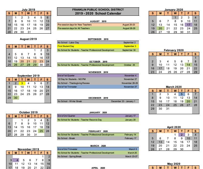 Calendars - Franklin Public Schools